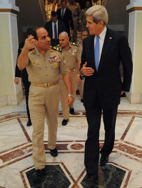 Egyptian Minister of Defense General Abdul Fatah Khalil al-Sisi bids farewell to U.S. Secretary of State John Kerry after a meeting in Cairo,Egypt, on November 3, 2013. [State Department photo/ Public Domain]