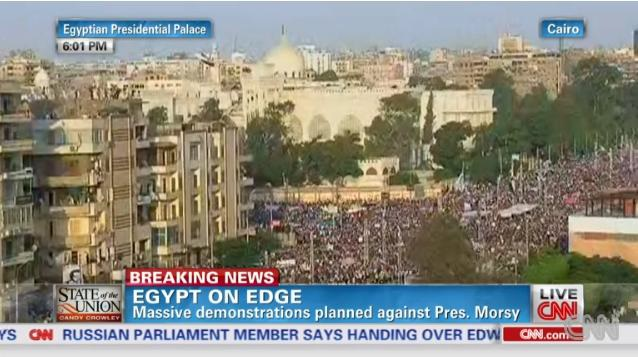 Massive demonstration against president Morsi at the square of Egyptian Presidential Palace, July 1, 2013 (CNN)