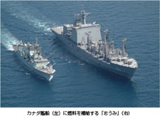 Oumi (right) supplying fuel to a Canadian ship (left)
