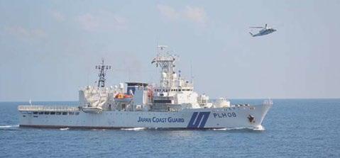 インド南部チェンナイ沖で合同訓練に参加した海上保安庁の巡視船「えちご」とヘリ(2020年1月17日世界日報記事)