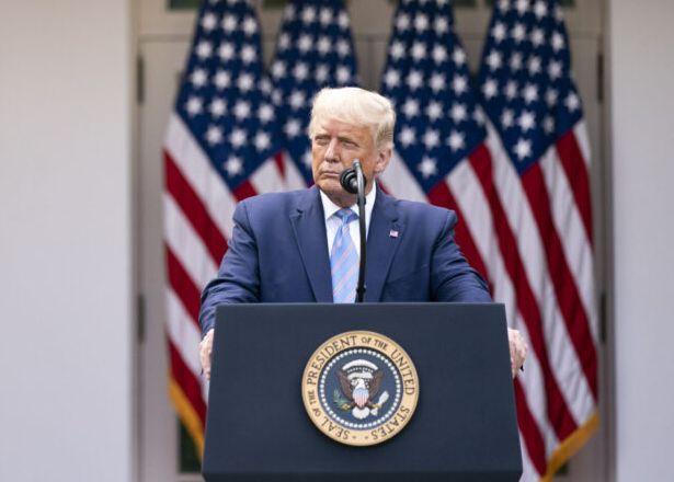 米ホワイトハウスで記者会見するトランプ大統領(ホワイトハウスHPから)
