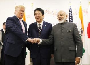 Japan-US-India Summit during G20 Osaka summit on June 28, 2019 (Photo courtesy of Cabinet Public Relations Office)