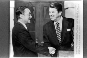 Prime Minister Yasuhiro Nakasone shaking hands with President Reagan after the summit meeting on his first visit to the United States = January 18, 1983, the White House