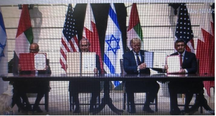 2020年9月15日、イスラエルとUAE、バハレーン国交正常化合意。於ホワイトハウス(ITV NewsのYou Tubeより)