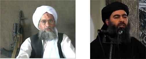 左)ウサマ・ビン・ラーディンの後継者としてアルカーイダの頭首となったアイマン・ザワヒリ。現在逃亡中。 Ayman al-Zawahiri 右)「イスラム国」のカリフと称されたアブバクル・バグダディ、2020年11月アメリカ軍により殺害された。Abu Bakr al-Baghdadi